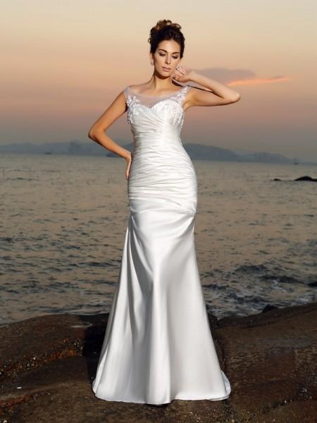 Trumpet/Mermaid Sleeveless Sweep/Brush Train Beading,Applique Satin Scoop Wedding Dresses