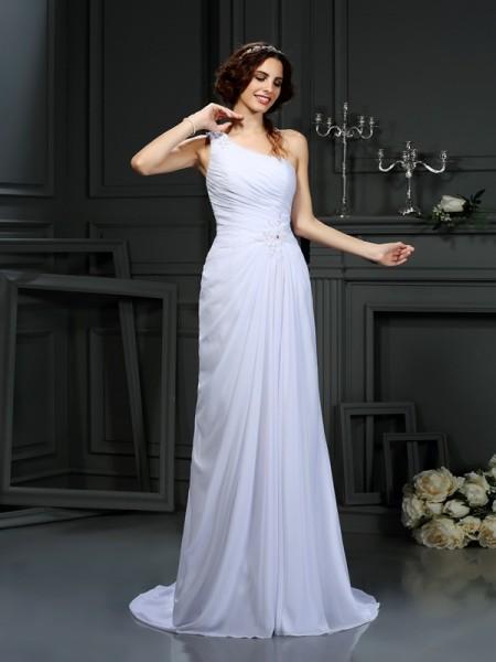A-Line/Princess Sleeveless Court Train Pleats Chiffon One-Shoulder Wedding Dresses