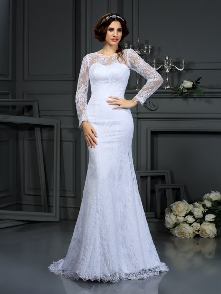 Sheath/Column Long Sleeves Court Train Lace Satin Scoop Wedding Dresses