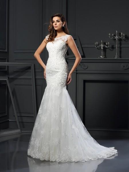 Trumpet/Mermaid Short Sleeves Chapel Train Applique Tulle Scoop Wedding Dresses