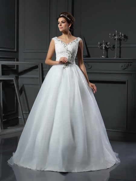 A-Line/Princess Sleeveless Chapel Train Beading Organza V-neck Wedding Dresses
