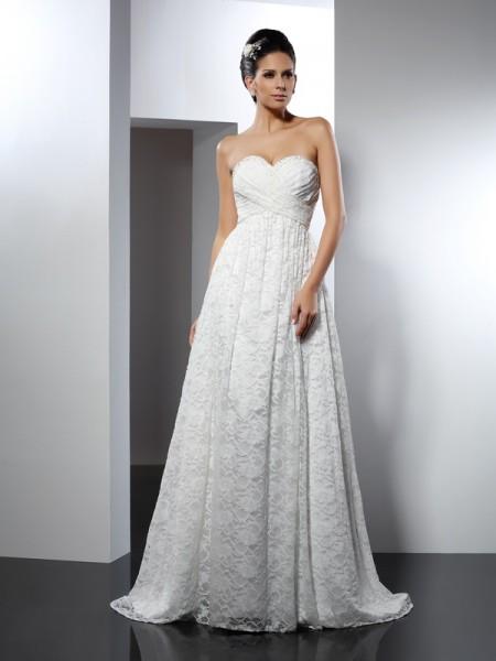 A-Line/Princess Sleeveless Sweep/Brush Train  Satin Sweetheart Wedding Dresses