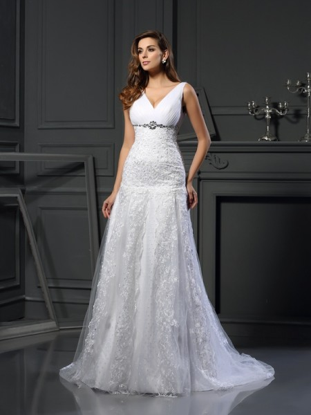 A-Line/Princess Sleeveless Chapel Train Beading,Applique Satin V-neck Wedding Dresses
