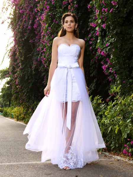 Trumpet/Mermaid Sleeveless Floor-Length Applique Tulle Sweetheart Wedding Dresses