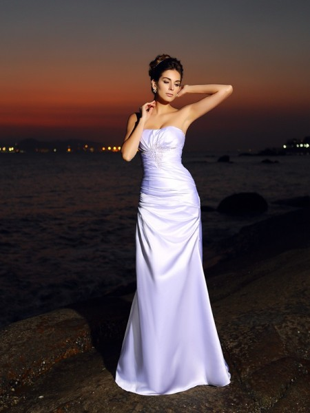Trumpet/Mermaid Sleeveless Chapel Train  Satin Sweetheart Wedding Dresses