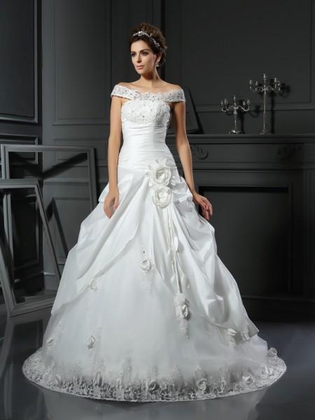 Ball Gown Sleeveless Chapel Train Hand-Made Flower Satin Off-the-Shoulder Wedding Dresses
