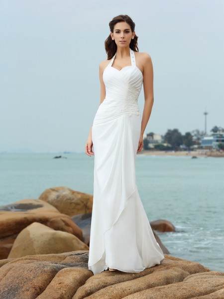 Sheath/Column Sleeveless Court Train Pleats Chiffon Halter Wedding Dresses