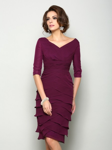 Sheath/Column 1/2 Sleeves Knee-Length  Chiffon V-neck Mother of the Bride Dresses