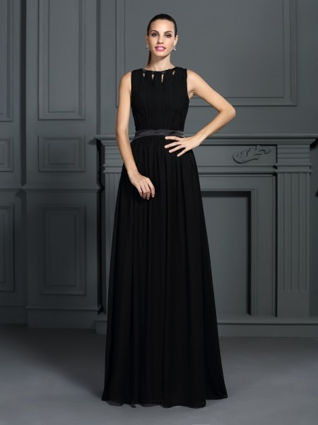 A-Line/Princess Sleeveless Floor-Length Pleats Chiffon Scoop Dresses