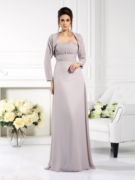A-Line/Princess Sleeveless Floor-Length Beading Chiffon Strapless Mother of the Bride Dresses