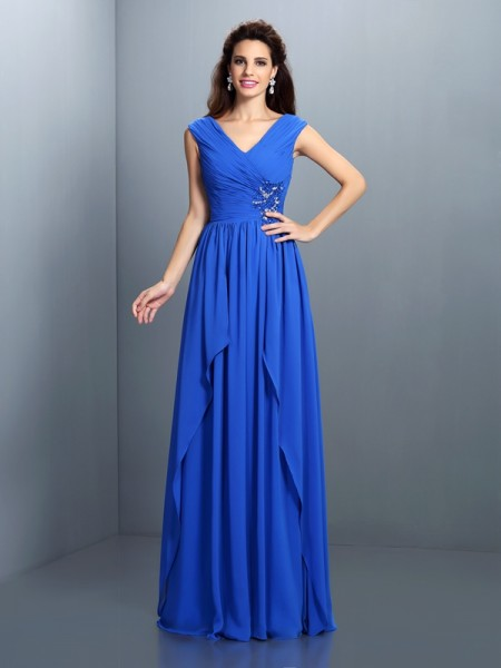 A-Line/Princess Sleeveless Floor-Length Pleats,Beading Chiffon V-neck Dresses
