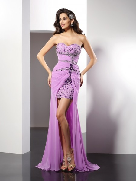 Sheath/Column Sleeveless Floor-Length Beading Silk like Satin Sweetheart Dresses