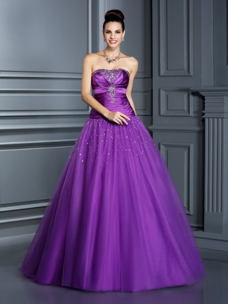 Ball Gown Sleeveless Floor-Length  Taffeta Strapless Dresses