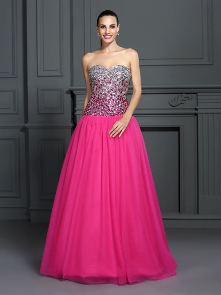 Ball Gown Sleeveless Floor-Length  Organza Sweetheart Dresses