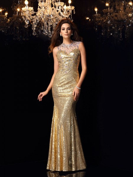 Trumpet/Mermaid Sleeveless Floor-Length  Sequins High Neck Dresses