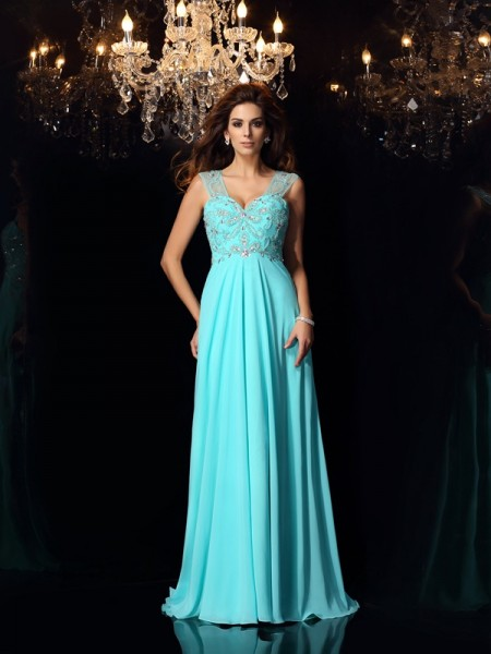 A-Line/Princess Sleeveless Sweep/Brush Train Beading Chiffon Sweetheart Dresses