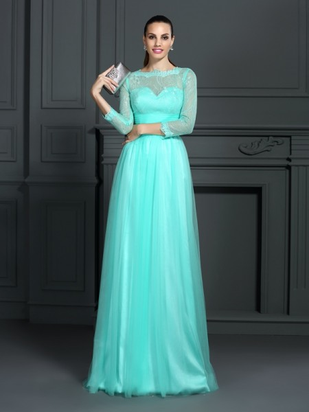 A-Line/Princess 3/4 Sleeves Sweep/Brush Train Lace Elastic Woven Satin Bateau Dresses