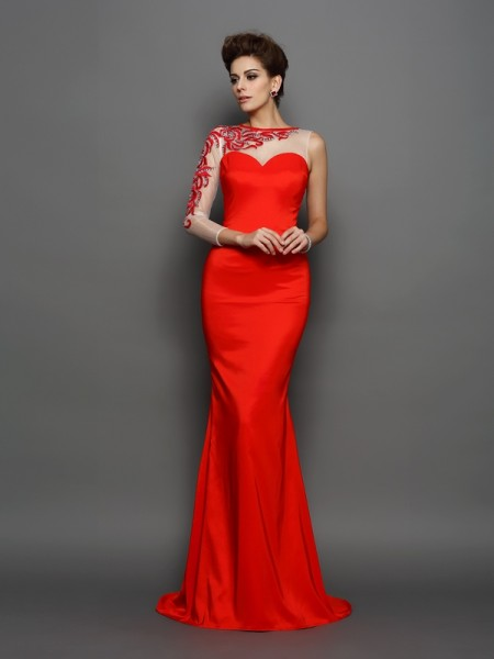 Trumpet/Mermaid Long Sleeves Court Train Embroidery Elastic Woven Satin High Neck Dresses