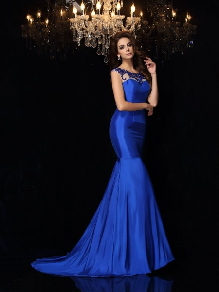 Trumpet/Mermaid Sleeveless Court Train Applique Taffeta Bateau Dresses