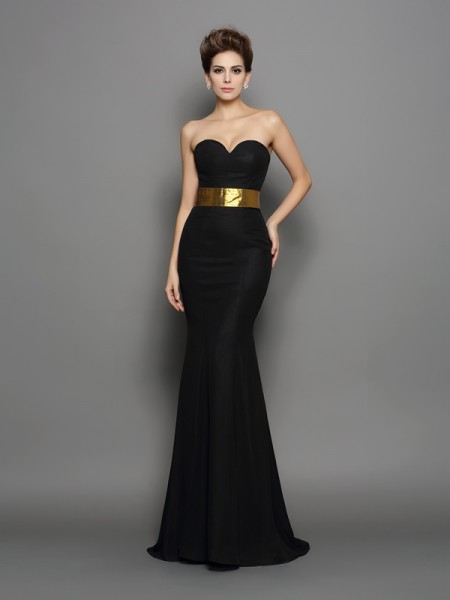 Trumpet/Mermaid Sleeveless Court Train Sash/Ribbon/Belt Chiffon Sweetheart Dresses