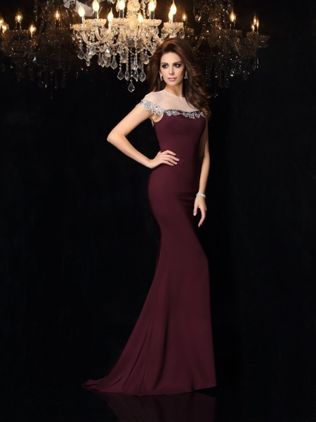 Trumpet/Mermaid Sleeveless Court Train Applique Elastic Woven Satin High Neck Dresses
