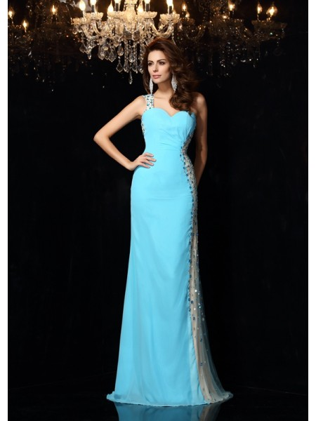 Sheath/Column Sleeveless Floor-Length Rhinestone Chiffon One-Shoulder Dresses