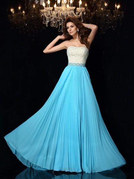 A-Line/Princess Sleeveless Sweep/Brush Train Beading Chiffon Strapless Dresses