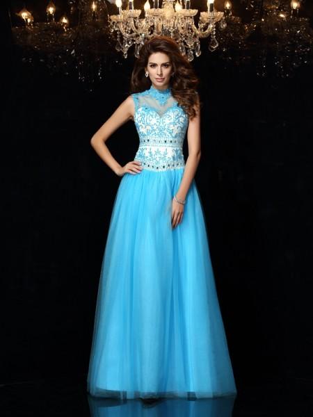 A-Line/Princess Sleeveless Floor-Length Applique Satin High Neck Dresses