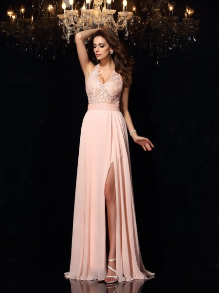 A-Line/Princess Sleeveless Sweep/Brush Train Lace Chiffon Halter Dresses