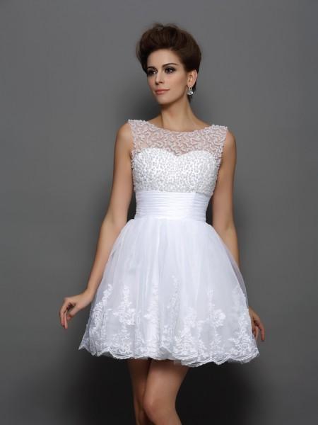 A-Line/Princess Sleeveless Short/Mini Pearls Elastic Woven Satin Bateau Cocktail Dresses