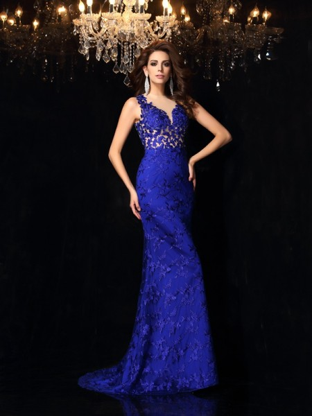 Trumpet/Mermaid Sleeveless Sweep/Brush Train Lace Satin High Neck Dresses