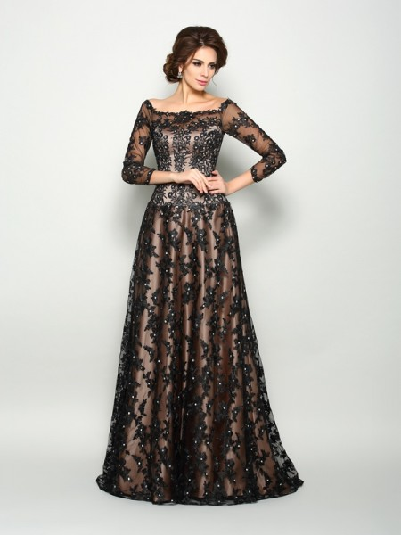 A-Line/Princess 3/4 Sleeves Court Train Lace Satin Off-the-Shoulder Mother of the Bride Dresses
