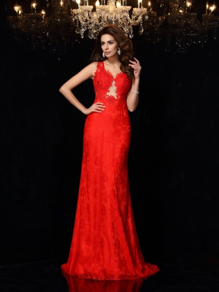 Sheath/Column Sleeveless Sweep/Brush Train Lace Satin V-neck Dresses
