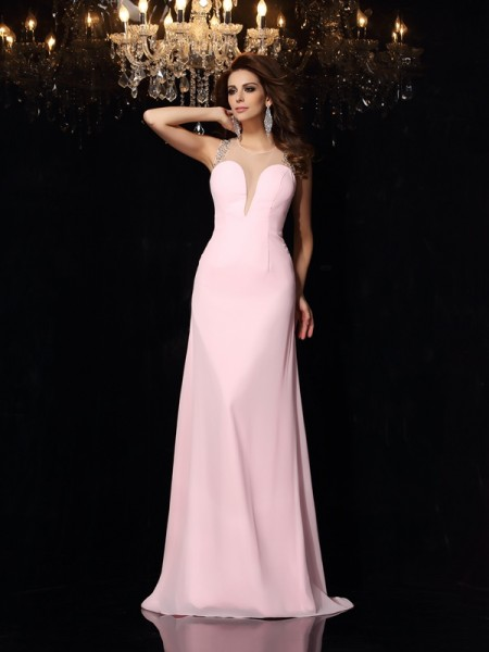 Trumpet/Mermaid Sleeveless Court Train Beading Chiffon Scoop Dresses