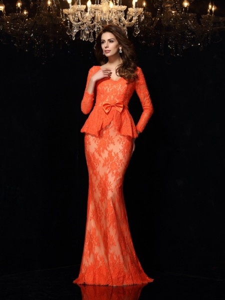 Sheath/Column Long Sleeves Sweep/Brush Train Bowknot Lace V-neck Dresses