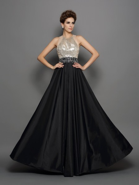 A-Line/Princess Sleeveless Floor-Length Sequin Taffeta High Neck Dresses