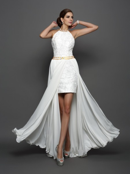 A-Line/Princess Sleeveless Chapel Train Lace Chiffon High Neck Wedding Dresses
