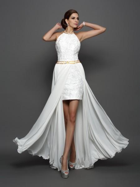 A-Line/Princess Sleeveless Chapel Train Lace Chiffon High Neck Wedding Dresses