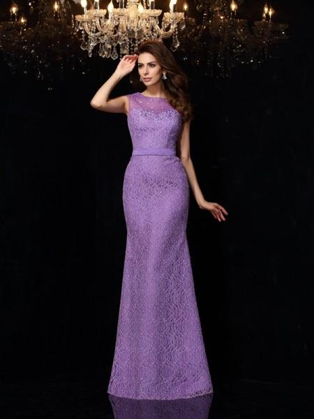 Sheath/Column Sleeveless Floor-Length Lace Satin Scoop Dresses