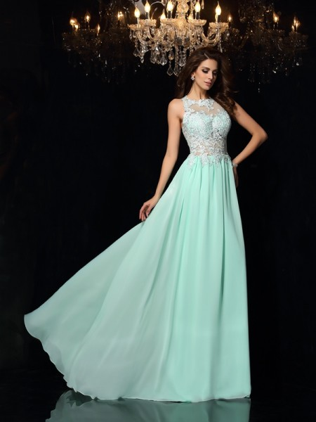 A-Line/Princess Sleeveless Sweep/Brush Train Applique Chiffon High Neck Dresses