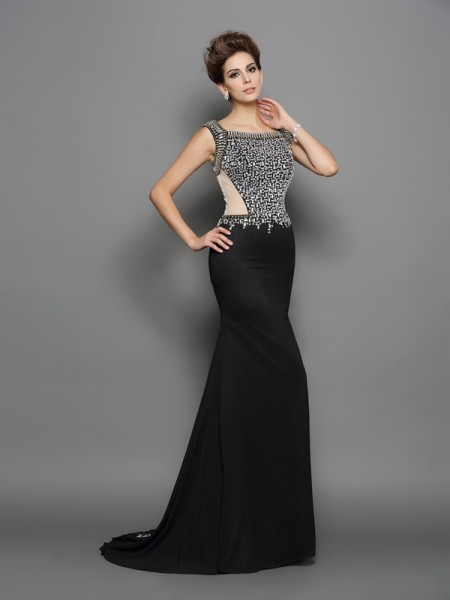 Trumpet/Mermaid Sleeveless Sweep/Brush Train Beading Chiffon Square Dresses
