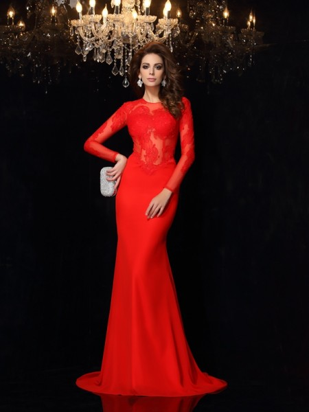 Sheath/Column Long Sleeves Court Train Lace Chiffon Scoop Dresses