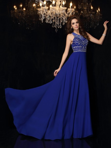 A-Line/Princess Sleeveless Sweep/Brush Train Beading Chiffon High Neck Dresses