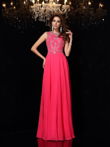 A-Line/Princess Sleeveless Floor-Length Beading Chiffon Scoop Dresses