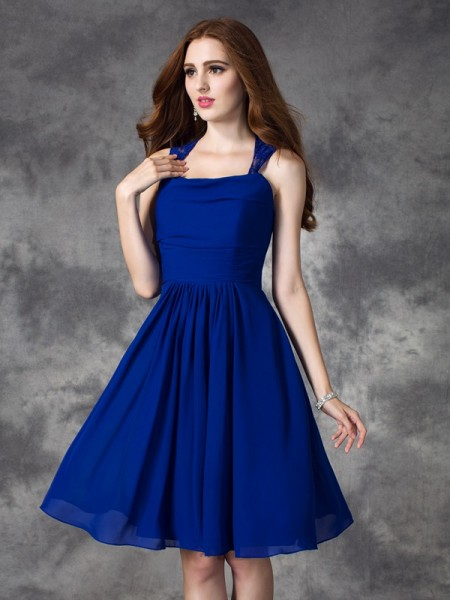 A-line/Princess Ruffles Short/Mini Straps Sleeveless Chiffon Bridesmaid Dresses