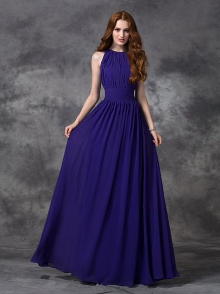 A-line/Princess Ruched Floor-length Jewel Sleeveless Chiffon Bridesmaid Dresses