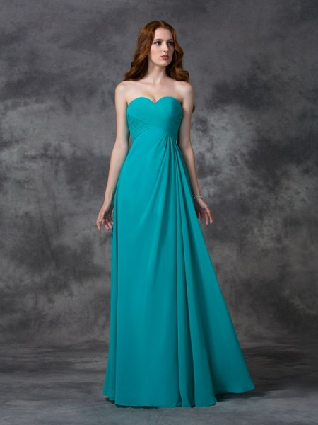 A-line/Princess Ruffles Floor-length Sweetheart Sleeveless Chiffon Bridesmaid Dresses