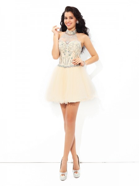 A-Line/Princess Beading Short/Mini Halter Sleeveless Satin Cocktail Dresses