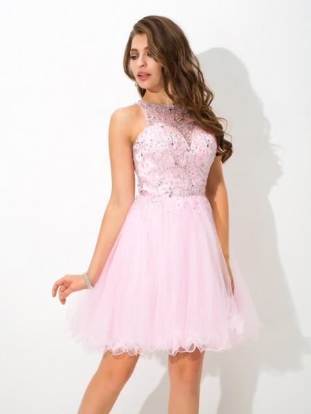 A-Line/Princess Beading Short/Mini Sheer Neck Sleeveless Net Cocktail Dresses