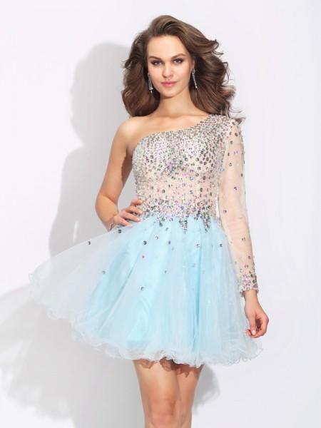 A-Line/Princess Beading Short/Mini One-Shoulder Long Sleeves Elastic Woven Satin Cocktail Dresses